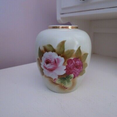 Pretty vintage vase with hand painted pink roses