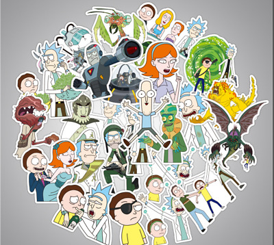 60 PCS Rick and Morty Car Stickers Decal Style Vinyl Character Decoration Paper