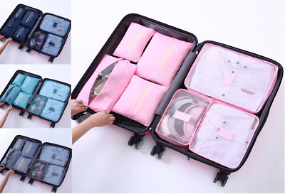 7Pcs Sets Packing Cubes Travel Pouches Luggage Organizer Suitcase Storage Bags