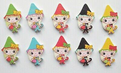 10 Wooden Buttons Pixie Elf Fairy Charm Sewing Kids Girl Bead Craft Scrapbooking