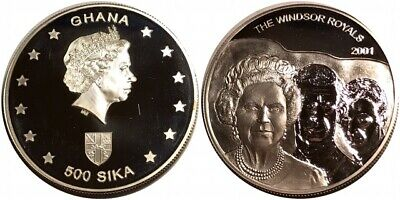 """2001 Ghana 500 Sika """"The Windsor Royals"""" Proof X #30 Foreign Silver Coin"""