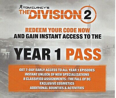 TOM CLANCY'S THE Division 2 YEAR 1 Pass DLC Pack PS4 Add-on Download Card EU