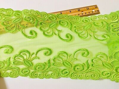 """Green & Gold Embroidered Border Mesh Lace Trim /Sewing/Crafts/Bridal/6"""" Wide"""
