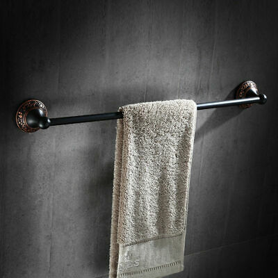 "24"" Solid Brass Wall Mounted One Towel Bar in Antique Black (Oil Rubbed Bronze)"