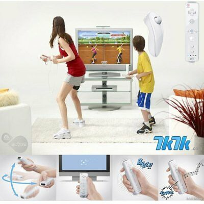 White Remote Wiimote Nunchuck Controller Set Combo for Nintendo Wii Game NEW CS