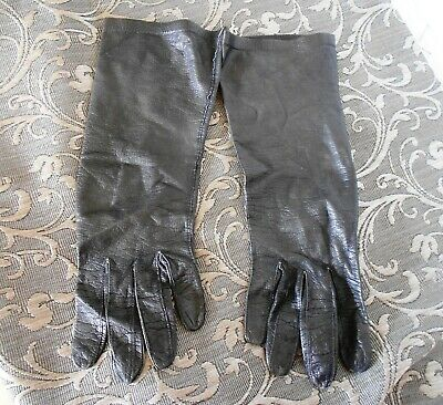 Womens.Vintage Long Black Kid Leather Gloves made in West Germany sz 7 1/2