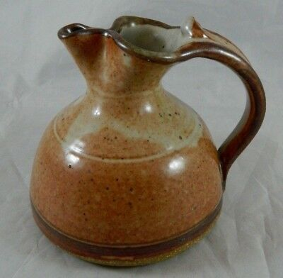 Vintage Signed Art Pottery Small Creamer Pitcher Pinched Lip Earth Tones Rust