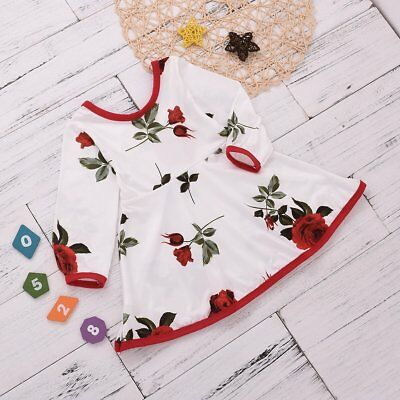 Kids Baby Girl flower Long Sleeves Dress Toddler Casual Party Dress Unique