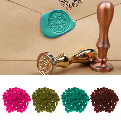 100pcs Octagon Wax Seal Beads Stamp Sealing Wax Beads Melting Spoon Kit