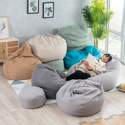 Large Bean Bag Chairs Sofa Cover Without Filler Indoor Lazy Lounger Adults