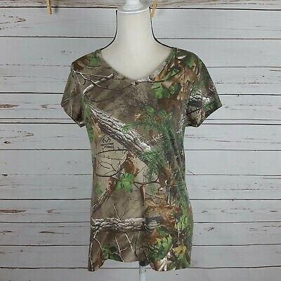 1743e82149b0f RealTree Ladies Camo Hunting Camouflage Southern Short Sleeve V-Neck Tee L
