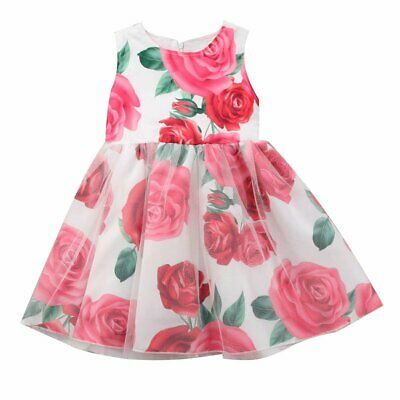 Toddler Baby Girl Floral Dress Newborn Toddler Bowknot Wedding Party Sundress