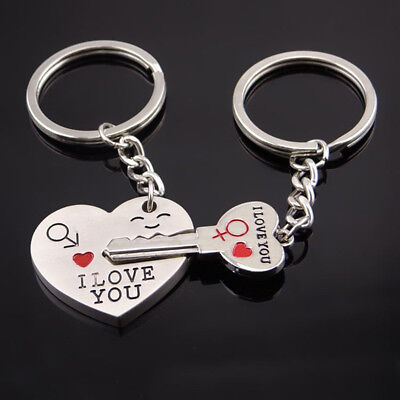 Couple Keychain Fashion Metal Love Heart Keychains Key Ring for Lover Gift