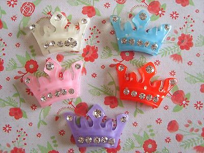 5 x Mixed Crystal Crown Flatback Resin Embellishment Crafts Hairbow  UK