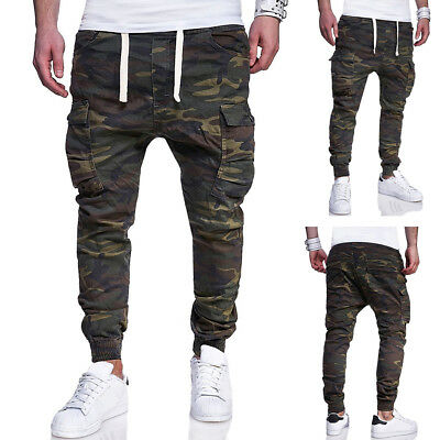 95b60421 Mens Camo Tapered Leg Joggers Gym Trackies Skinny Cuffed Pants Track Pant  Army