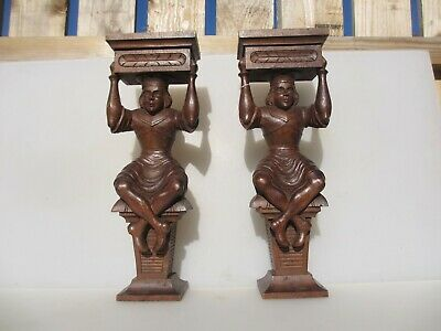 Victorian Carved Wood Shelf Brackets Man Antique French Wooden Old Vintage Pair