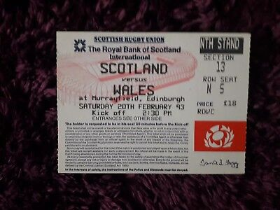 1993-Scotland V Wales-Five-5 Nations-International Rugby Union Ticket-Excellent