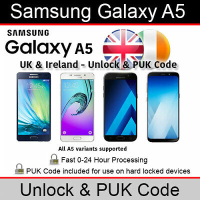 Samsung Galaxy A5 Unlock/PUK Code (All UK & Ireland Networks Supported)