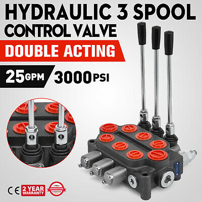 Hydraulic Three 3 Spool Valve RD532CCCAAA5A4B1 Double Acting 25gpm 3000ps