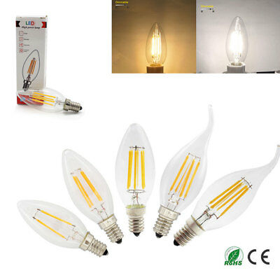 E14 2W 4W 6W Dimmable LED Candle Filament Light Bulbs Lamps White Edison SES VIS