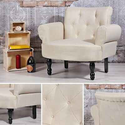 Esszimmer Stuhl in creme Stylischer Relaxsessel Softsessel Polster Lounge