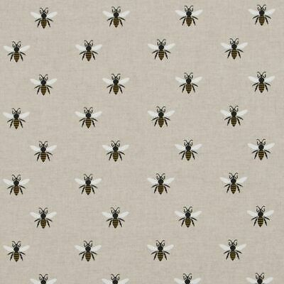 Cotton Rich Linen Look Fabric Curtain Upholstery Cushion Buzzy Bees Summer