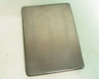 "Art Deco Solid Silver ""engine Turned"" Cigarette Case, Adie Bros Ltd B'h 1927"