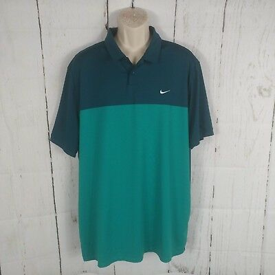 a8177d31f1eb Men s Nike Golf Two Tone Dri Fit Teal Blue Green Polo Shirt XXL 2XL Logo