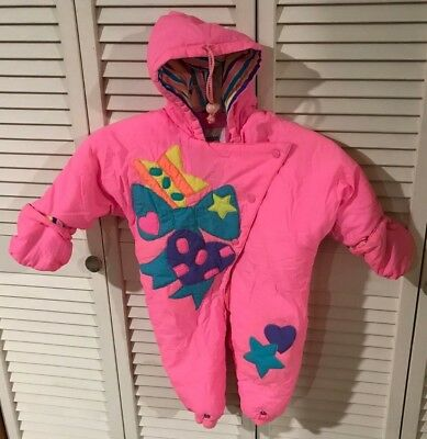 535840f34 Vintage London Fog Baby Girl 12 Month Pink One Piece Snowsuit Snow Wear  Bunting
