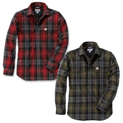 Carhartt Mens Long Sleeve Hubbard Slim Fit Chest Pocket Flannel Shirt