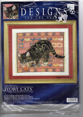 Vintage Counted Cross Stitch Kit Cat Octopussy and Tiger Toy Ivory Cat