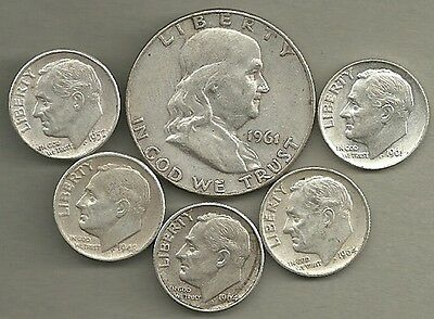 Franklin Half Dollar & Roosevelt Dimes- 90% Silver- US Coin Lot - 6 Coins #3736