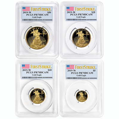 2019-W Proof American Gold Eagle 4pc. Set PCGS PR70DCAM First Strike Flag Label