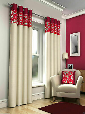 SKYE Floral Metallic Modern Fully Lined Ready Made Eyelet Ring Top Curtains Pair