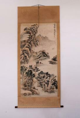 Feng Chaoran Signed Old Chinese Hand Painted Calligraphy Scroll w/Trees