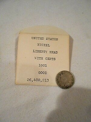 1901 US Nickel Liberty Head with Cents Good
