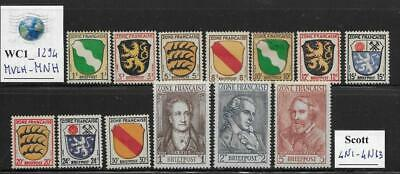 WC1_1294 GERMANY: FRENCH OCCUP. 1945-46 stamps. Scott 4N1-4N13.  MVLH-MNH