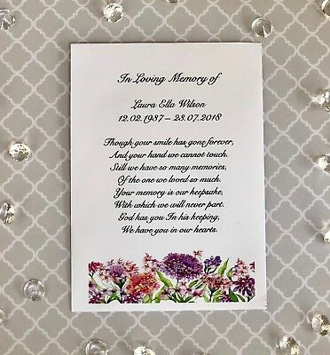 10 Funeral - In Memory of Forget-Me-Not Personalised Seed Packs