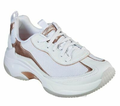 d6855134daa5 White Rose Skechers Shoe Gold Women Sport Train Memory Foam Casual Comfort  13250
