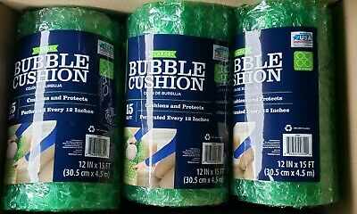 BUBBLE WRAP 6 Rolls green 12in by 15ft Medium bubble Made in USA