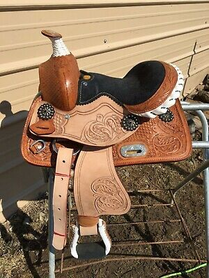 "HSBP Pad Girth 6pc 10/"" Med O Blue Tooled Trail Western PONY MINI Show Saddle"
