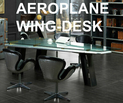 Aeroplane WING DESK ca.250cm AIRCRAFT ALUMINIUM Writing TABLE with GLASS-SURFACE