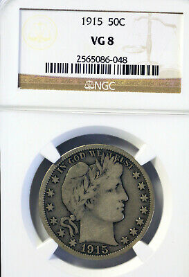 1915 Silver Barber Half Dollar -  50 Cents. NGC VG8, toned