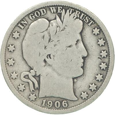 1906 D Barber Half Dollar 90% Silver Very Good VG