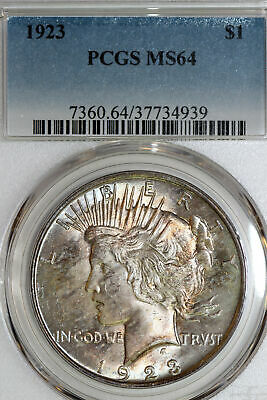 Beautifully Toned 1923-P US Peace Silver Dollar PCGS Graded MS64 (37734939)