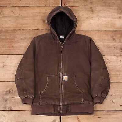 Boys Vintage Carhartt Brown Hooded Quilt Lined Workwear Chore Large 14-16 R11795