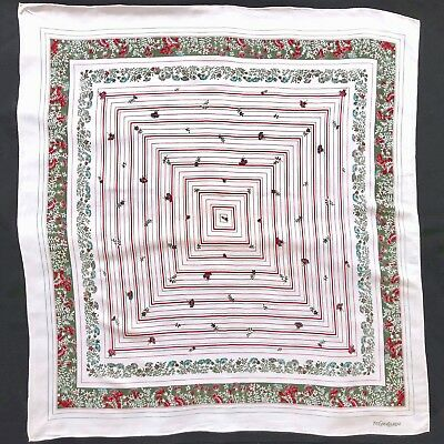 d7f01b26b9 vintage YVES SAINT LAURENT ivory silk scarf with Squares   Floral print