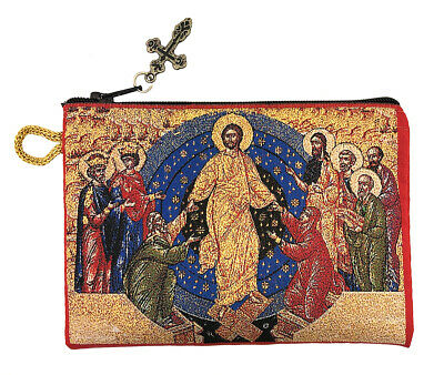Resurrection Of Christ Tapestry Icon Rosary Keepsake Pouch Saints Adam and Eve