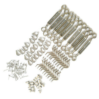 110pcs Set di Stainless Steel Hook Eye Turnbuckle Kit Wire Rope Tension Kit