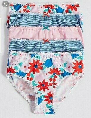 5 Pairs Girls Cotton Briefs Knickers Panties 1 1/2-2 Yrs 18-24M New M&S Blue Mix